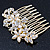 Bridal/ Wedding/ Prom/ Party Gold Plated Clear Crystal and Light Cream Simulated Pearl Floral Hair Comb - 50mm - view 4