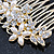 Bridal/ Wedding/ Prom/ Party Gold Plated Clear Crystal and Light Cream Simulated Pearl Floral Hair Comb - 50mm - view 3
