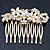Bridal/ Wedding/ Prom/ Party Gold Plated Clear Crystal and Light Cream Simulated Pearl Floral Hair Comb - 50mm - view 5