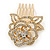 Bridal/ Wedding/ Prom/ Party Gold Plated Clear Austrian Crystal Sculptured Rose Hair Comb - 55mm - view 5
