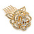 Bridal/ Wedding/ Prom/ Party Gold Plated Clear Austrian Crystal Sculptured Rose Hair Comb - 55mm - view 6