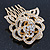 Bridal/ Wedding/ Prom/ Party Gold Plated Clear Austrian Crystal Sculptured Rose Hair Comb - 55mm - view 2
