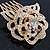 Bridal/ Wedding/ Prom/ Party Gold Plated Clear Austrian Crystal Sculptured Rose Hair Comb - 55mm - view 3