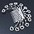 Statement Bridal/ Wedding/ Prom/ Party Rhodium Plated Clear Swarovski Sculptured Heart Crystal Hair Comb - 11.5cm Width - view 3