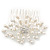Bridal/ Wedding/ Prom/ Party Rhodium Plated Cluster White Simulated Pearl Bead and Swarovski Crystal Hair Comb - 80mm - view 7