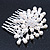 Bridal/ Wedding/ Prom/ Party Rhodium Plated Cluster White Simulated Pearl Bead and Swarovski Crystal Hair Comb - 80mm - view 3