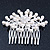 Bridal/ Wedding/ Prom/ Party Rhodium Plated Cluster White Simulated Pearl Bead and Swarovski Crystal Hair Comb - 80mm - view 2