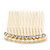 Bridal/ Wedding/ Prom/ Party Gold Plated Clear Crystal and Light Cream Simulated Pearl Mini Hair Comb - 50mm - view 2
