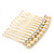 Bridal/ Wedding/ Prom/ Party Gold Plated Clear Crystal and Light Cream Simulated Pearl Mini Hair Comb - 50mm - view 5