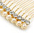 Bridal/ Wedding/ Prom/ Party Gold Plated Clear Crystal and Light Cream Simulated Pearl Mini Hair Comb - 50mm - view 3