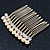Bridal/ Wedding/ Prom/ Party Gold Plated Clear Crystal and Light Cream Simulated Pearl Mini Hair Comb - 50mm - view 7