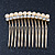 Bridal/ Wedding/ Prom/ Party Gold Plated Clear Crystal and Light Cream Simulated Pearl Mini Hair Comb - 50mm - view 4