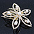 Bridal/ Wedding/ Prom/ Party Gold Plated Clear Swarovski Sculptured Flower Crystal Hair Comb - 65mm - view 2