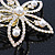 Bridal/ Wedding/ Prom/ Party Gold Plated Clear Swarovski Sculptured Flower Crystal Hair Comb - 65mm - view 3