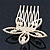Bridal/ Wedding/ Prom/ Party Gold Plated Clear Swarovski Sculptured Flower Crystal Hair Comb - 65mm - view 5