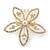 Bridal/ Wedding/ Prom/ Party Gold Plated Clear Swarovski Sculptured Flower Crystal Hair Comb - 65mm - view 6