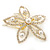 Bridal/ Wedding/ Prom/ Party Gold Plated Clear Swarovski Sculptured Flower Crystal Hair Comb - 65mm - view 8