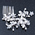 Bridal/ Wedding/ Prom/ Party Rhodium Plated Clear Austrian Crystal Simulated Pearl Butterfly Hair Comb - 80mm - view 2