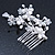 Bridal/ Wedding/ Prom/ Party Rhodium Plated Clear Austrian Crystal Simulated Pearl Butterfly Hair Comb - 80mm - view 3