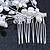 Bridal/ Wedding/ Prom/ Party Rhodium Plated Clear Austrian Crystal Simulated Pearl Butterfly Hair Comb - 80mm - view 7
