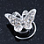Bridal/ Wedding/ Prom/ Party Set Of 4 Rhodium Plated Crystal 'Butterfly' Spiral Twist Hair Pins - view 2