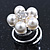 Bridal/ Wedding/ Prom/ Party Set Of 6 Rhodium Plated Crystal Simulated Pearl Floral Spiral Twist Hair Pins - view 3