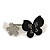Grey, Black Acrylic Crystal 'Butterfly & Flower' Barrette Hair Clip Grip - 85mm Across - view 7