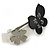 Grey, Black Acrylic Crystal 'Butterfly & Flower' Barrette Hair Clip Grip - 85mm Across - view 10