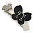 Grey, Black Acrylic Crystal 'Butterfly & Flower' Barrette Hair Clip Grip - 85mm Across - view 2