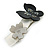 Grey, Black Acrylic Crystal 'Butterfly & Flower' Barrette Hair Clip Grip - 85mm Across - view 11