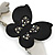Grey, Black Acrylic Crystal 'Butterfly & Flower' Barrette Hair Clip Grip - 85mm Across - view 8