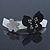 Grey, Black Acrylic Crystal 'Butterfly & Flower' Barrette Hair Clip Grip - 85mm Across