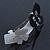 Grey, Black Acrylic Crystal 'Butterfly & Flower' Barrette Hair Clip Grip - 85mm Across - view 5