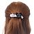 Grey, Black Acrylic Crystal 'Butterfly & Flower' Barrette Hair Clip Grip - 85mm Across - view 3