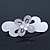 Light Silver/ Light Grey Acrylic Crystal '3D Flower' Barrette Hair Clip Grip - 85mm Across