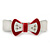 White/ Red Acrylic Crystal Bow Barrette Hair Clip Grip - 80mm Across - view 2