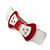 White/ Red Acrylic Crystal Bow Barrette Hair Clip Grip - 80mm Across - view 9