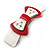 White/ Red Acrylic Crystal Bow Barrette Hair Clip Grip - 80mm Across - view 10