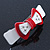 White/ Red Acrylic Crystal Bow Barrette Hair Clip Grip - 80mm Across - view 7