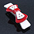 White/ Red Acrylic Crystal Bow Barrette Hair Clip Grip - 80mm Across - view 5