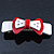 White/ Red Acrylic Crystal Bow Barrette Hair Clip Grip - 80mm Across - view 8