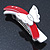 White/ Red Acrylic Crystal Butterfly Barrette Hair Clip Grip - 95mm Across