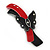 Black/ Red Acrylic Crystal Butterfly Barrette Hair Clip Grip - 95mm Across