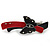 Black/ Red Acrylic Crystal Butterfly Barrette Hair Clip Grip - 95mm Across - view 6