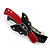 Black/ Red Acrylic Crystal Butterfly Barrette Hair Clip Grip - 95mm Across - view 8