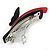 Black/ Red Acrylic Crystal Butterfly Barrette Hair Clip Grip - 95mm Across - view 4