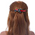 Black/ Red Acrylic Crystal Butterfly Barrette Hair Clip Grip - 95mm Across - view 3