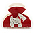 Red, White Acrylic Crystal 'Dog' Hair Claw - 60mm Width - view 5