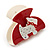 Red, White Acrylic Crystal 'Dog' Hair Claw - 60mm Width - view 2