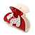 Red, White Acrylic Crystal 'Dog' Hair Claw - 60mm Width - view 9